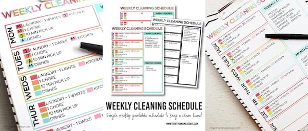 DIY To Make Your House Run Efficiently, three images of a weekly cleaning schedule, home