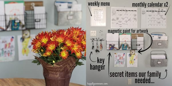 DIY To Make Your House Run Efficiently, two images of a home command center, home