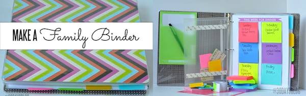 DIY To Make Your House Run Efficiently, two images of a family binder, home