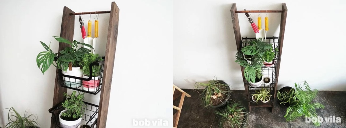 DIY Projects To Refesh Your Home, two images of a plant ladder, home