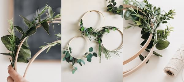 DIY Projects To Refresh Your Home, three images of a wreath made with fresh greens, home