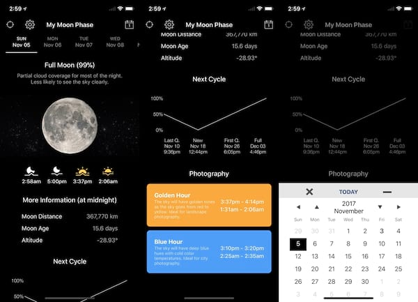 Best Witch Apps, three images of the My Moon Phase app, science & tech, culture