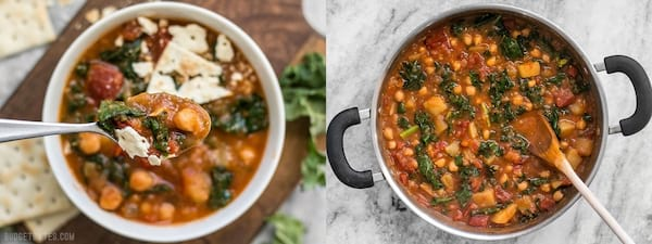 The Best Cheap and Easy Soup Recipes, two images of smoky potato chickpea stew, food & drinks