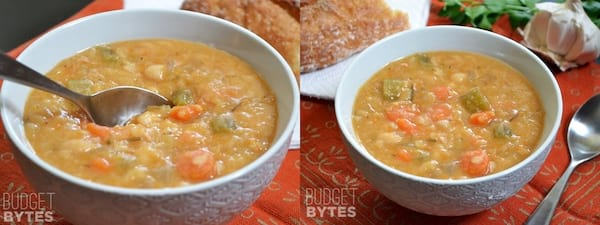 The Best Cheap and Delicious Soup Recipes, two images of slow cooker white bean soup, food & drinks