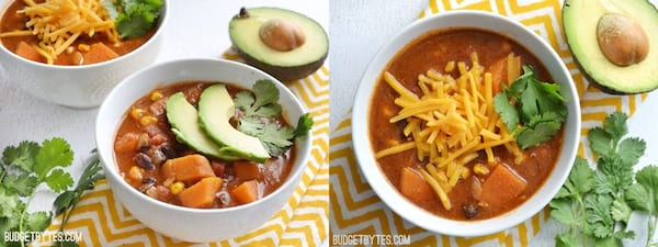 The Best Cheap and Delicious Soup Recipes, two images of sweet potato tortilla soup, food & drinks