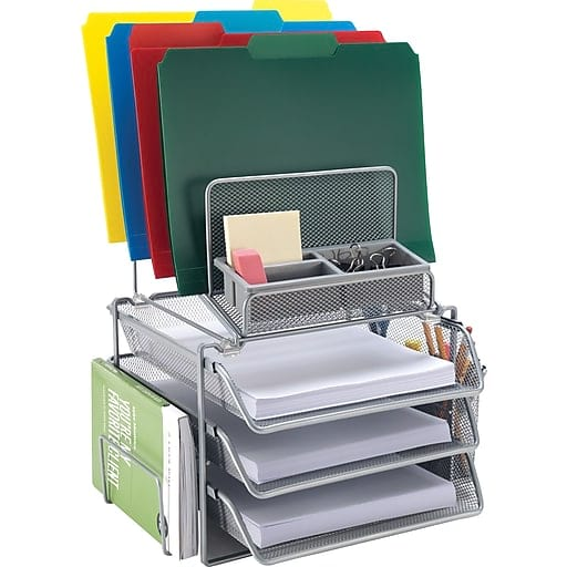 All-in-One Silver Wire Mesh Desk Organizer from Staples