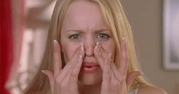 Regina George staring at her pores up close in a scene from Mean Girls