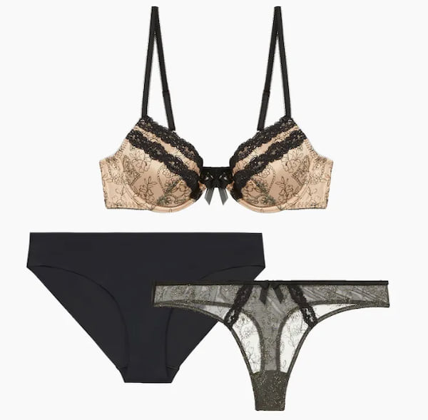 Embroidered Hearts Thong Trio from Savage X Fenty