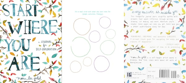 Incredible Mindfulness Journals, three images of the Start Where You Are journal, books