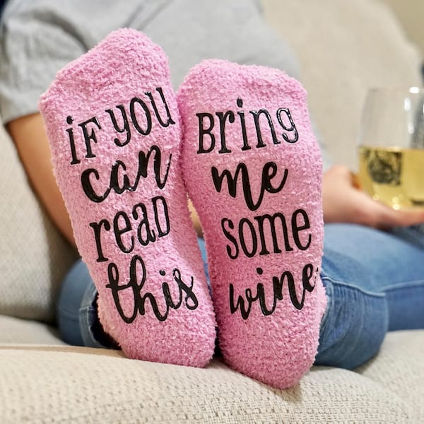 'If You Can Read This, Bring Me Wine' pink socks from Etsy