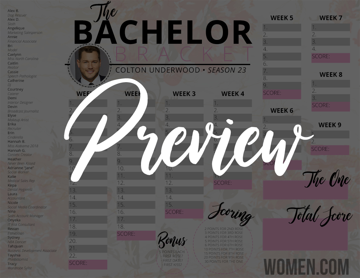 bachelor 2019 bracket, colton underwood, printable in color black and white, free