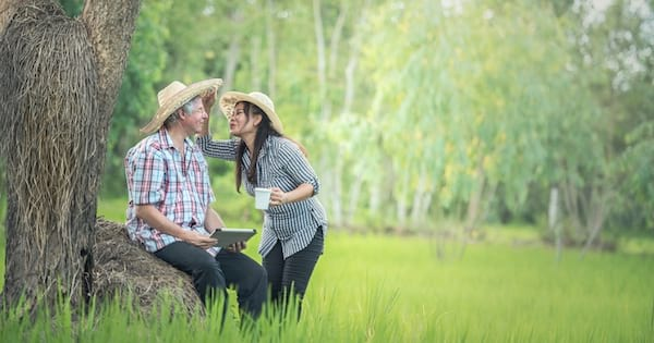 retired couple in countryside