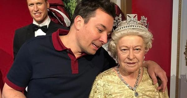 jimmy fallon with wax figure of the queen