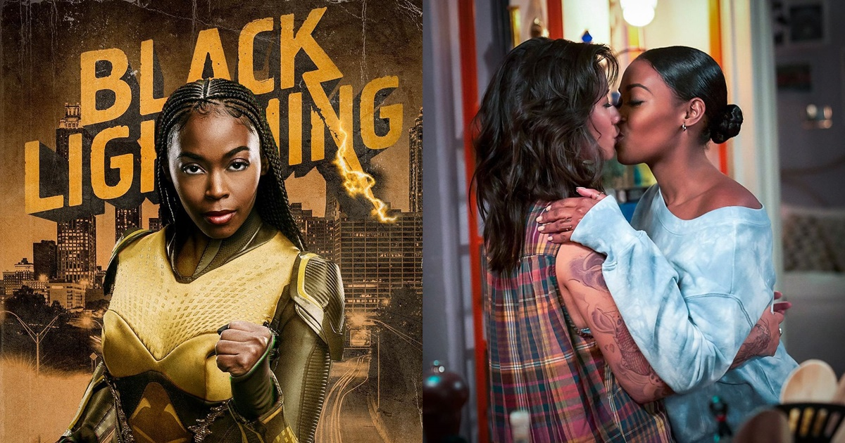 Best Lesbian and Bi Characters On TV, a photo of Anissa from Black Lightning and a photo of Anissa and Grace kissing, tv, pop culture