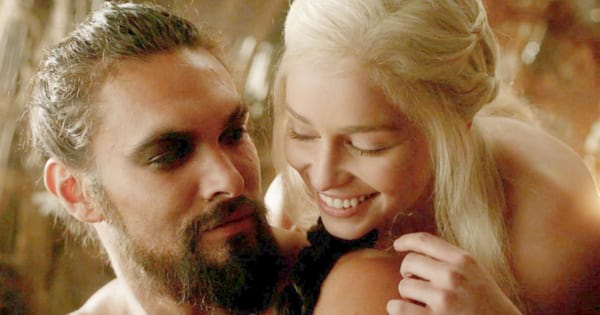 Khaleesi and Drogo staring lovingly at each other on an episode of 'Game of Thrones'