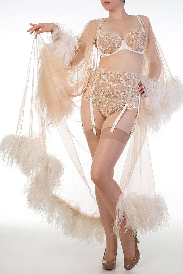 Woman wearing a lingerie set from Harlow & Fox