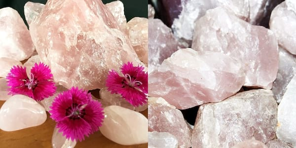 Crystals That Will Boost Your Self Care, two photos of rose quartz, health