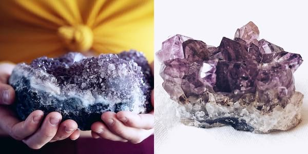 Crystals To Boost Your Self Care, two photos of amethyst, health