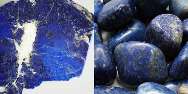 Crystals That Will Boost Your Self Care, two images of lapis lazuli, health