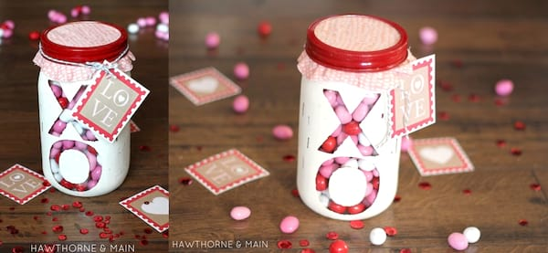 relationships, two images of a DIY mason jar craft filled with candy, DIY Valentine's Gifts