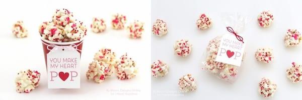 relationships, two images of popcorn coated in white chocolate, DIY Valentine's Gifts