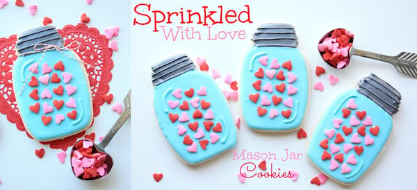 DIY Valentine's Gifts, two images of mason jar cookies, relationships