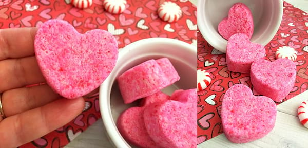 DIY Valentine's Gift, two images of heart-shaped bath bombs, relationships