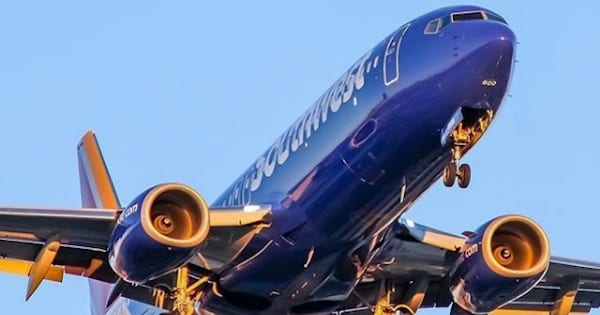 southwest airlines plane in air, airline