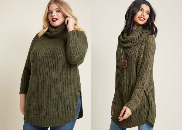 Warm But Cute Sweaters, two photos of two different women modeling an olive green sweater, fashion