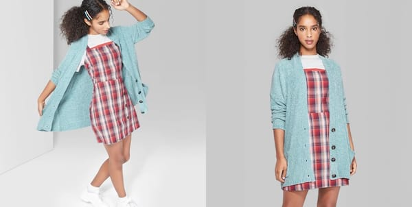 Warm But Cute Sweaters, two images of a black woman wearing a light blue cardigan sweater, fashion
