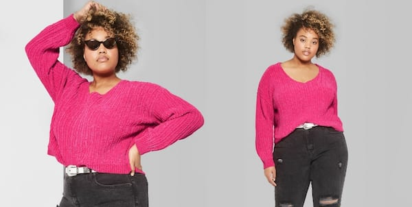 Warm But Cute Sweaters, two photos of a black woman wearing a hot pink sweater, fashion