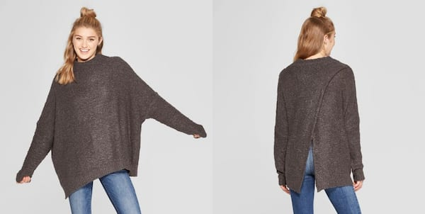 Warm But Cute Sweaters, two images of a white woman wearing a baggy gray sweater, fashion