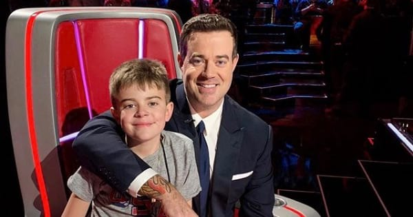 carsol daly and his son on the voice, late-night tv host