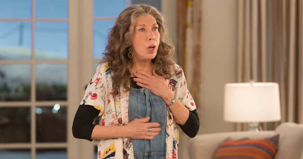 Lily Tomlin looking shocked in a scene from Grace and Frankie
