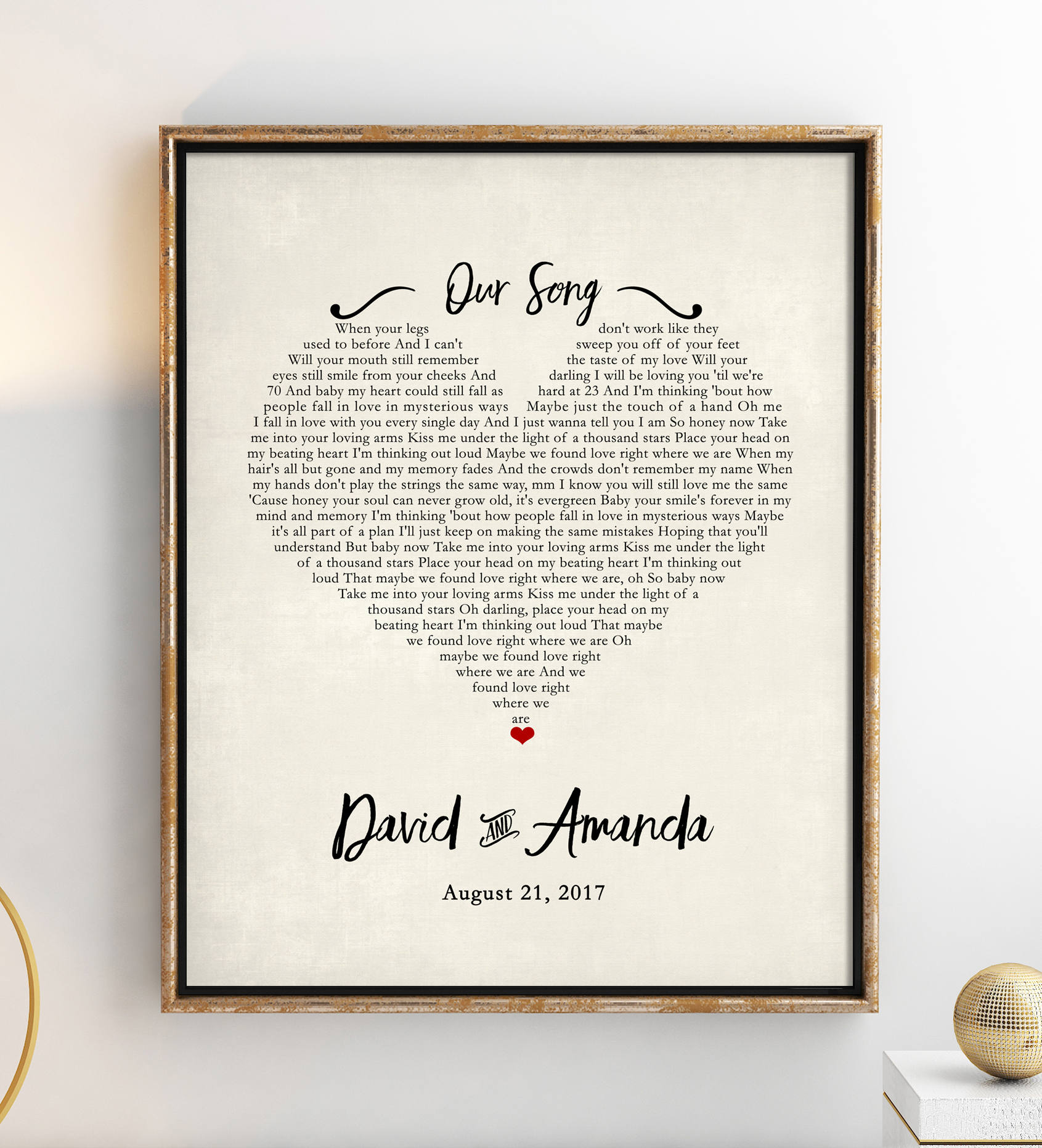 Your Wedding Song Lyric Poster from Etsy