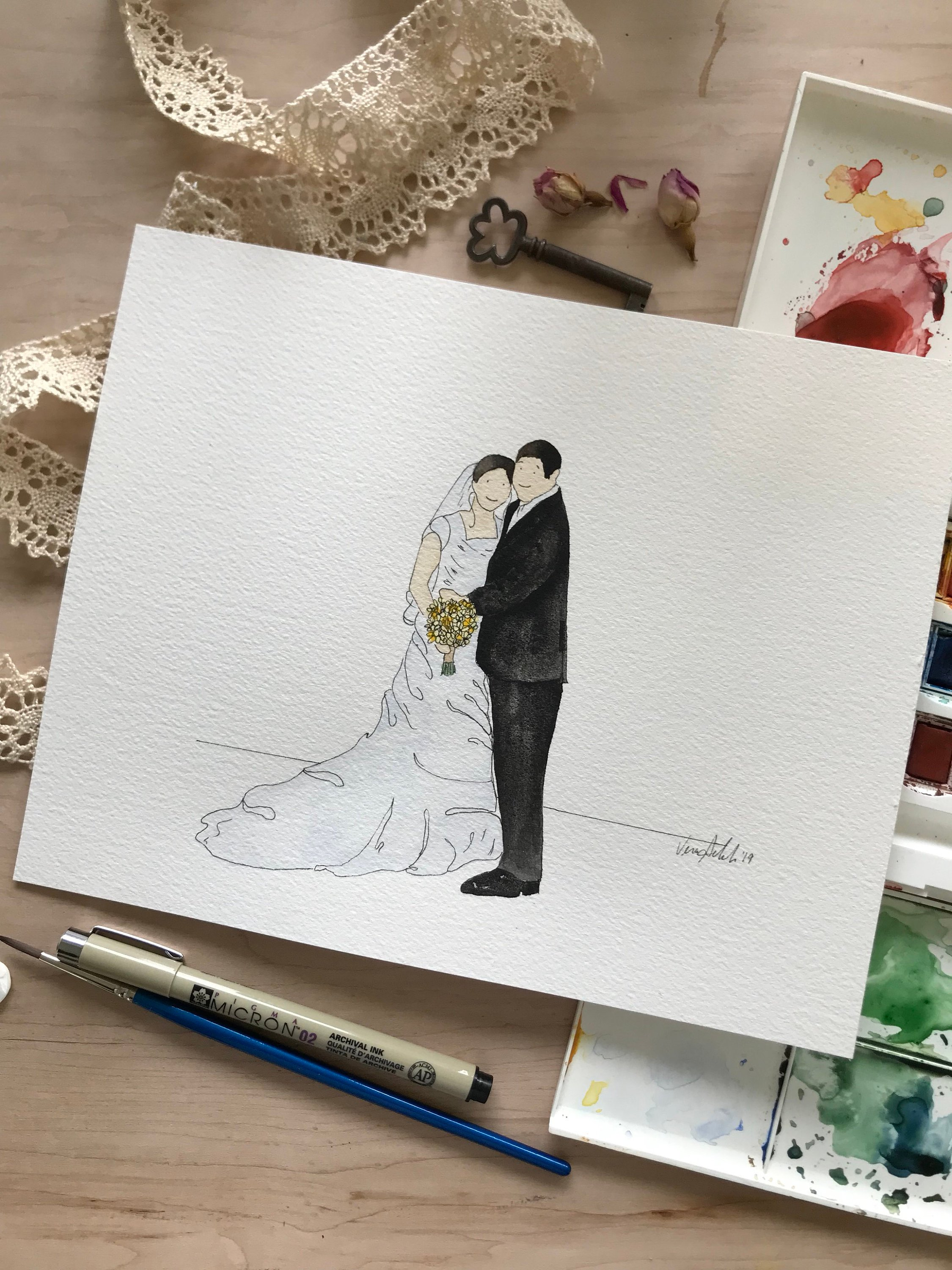 Hand-painted wedding portrait from Etsy