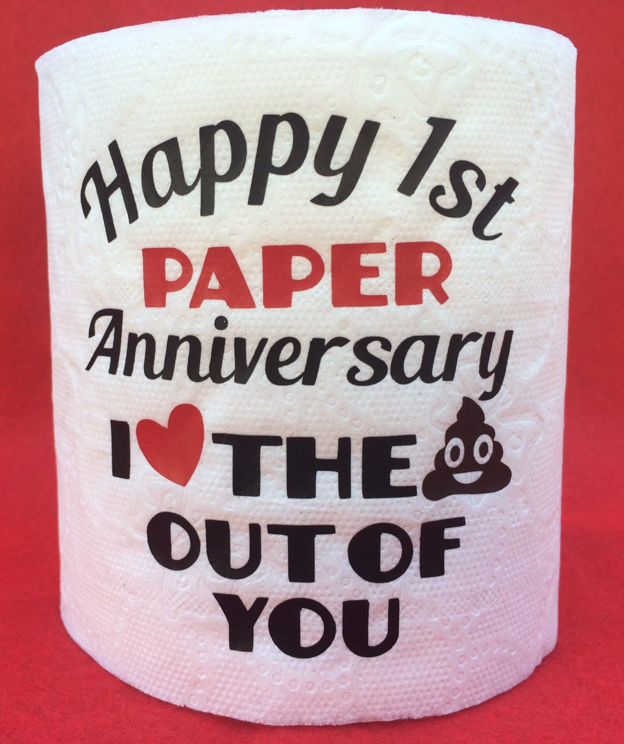 'Happy 1st Wedding Anniversary' Toilet Paper from Etsy