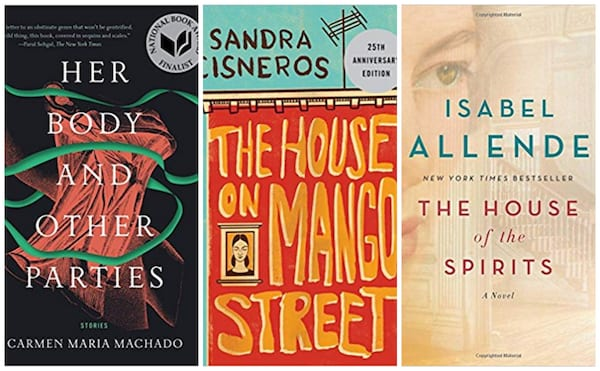 Books covers of The house of the Spirits, Her Body and other Parties and The House on Mango Street.