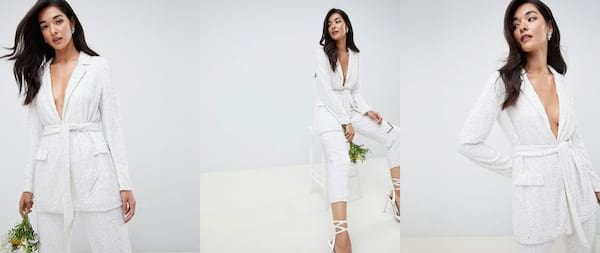 Wedding Looks For the Nontraditional Bride, three photos of an Asian woman wearing an embellished white suit, relationships, fashion