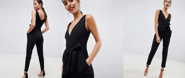 fashion, relationships, three images of an enthnically ambiguous woman wearing a slimfit black jumpsuit, Wedding Looks For the Nontraditional Bride