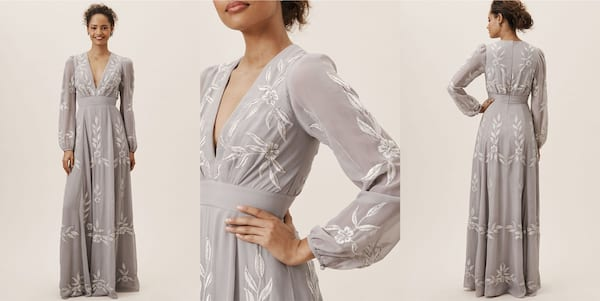 Wedding Looks For the Nontraditional Bride, three images of a black woman wearing a light gray dress with white embroidery, relationships, fashion