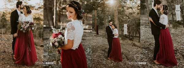 Wedding Looks For the Nontraditional Bride, four images of white woman wearing a white lace top and maroon tulle skirt, relationships, fashion