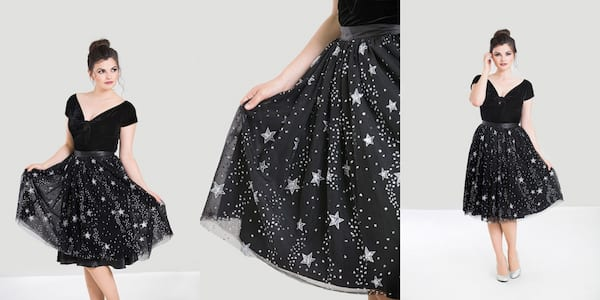 Fashion That Will Make You Feel Witchy AF, three images of a white woman wearing a black skirt covered in silver stars, fashion