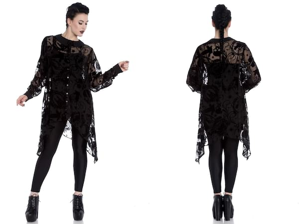Fashion That Will Make You Feel Witch AF, two images of a white woman wearing a long lace top, fashion