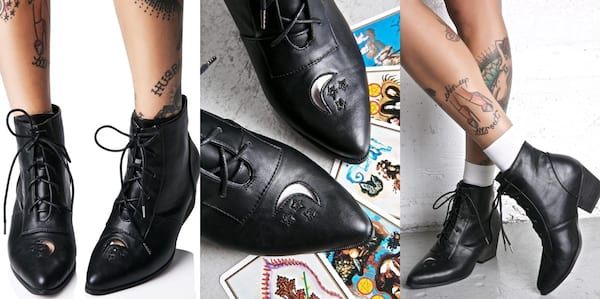 Fashion That Will Make You Feel Witchy AF, three images of black leather boots with small crescent moons and stars on them, fashion