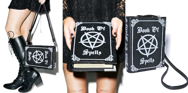 Fashion That Will Make You Feel Witchy AF, three images of a handbag that looks like a book of shadows, fashion
