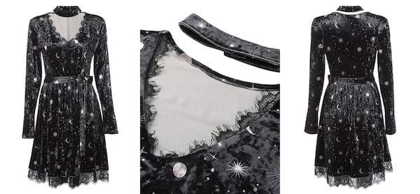 Fashion That Will Make You Feel Witch AF, three images of a black dress with white moons and stars on it, fashion