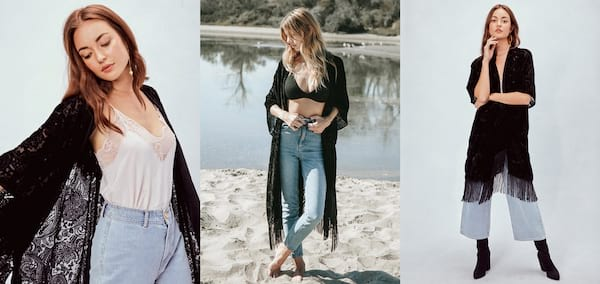 Fashion That Will Make You Feel Witchy AF, three images of a white woman wearing a long black shawl, fashion