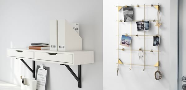 Declutter Your Workspace, an image of a wall shelf and a memo board from Ikea, career
