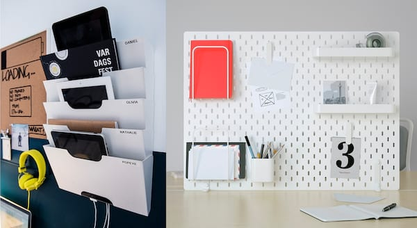 Declutter Your Workspace, photos of a wall rack and pegboard from Ikea, career